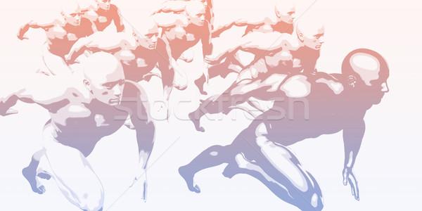 Markt leider concurrentie business technologie mannen Stockfoto © kentoh