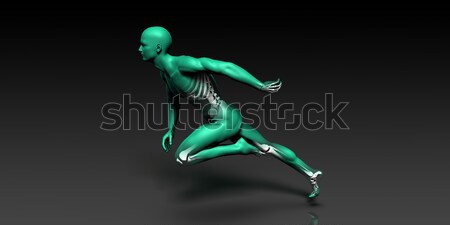 Human Anatomy with Visible Skeleton and Muscles Stock photo © kentoh