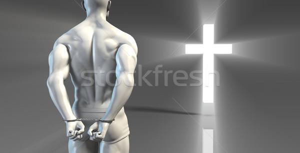 Crimineel handboeien vergiffenis kruis licht bijbel Stockfoto © kentoh