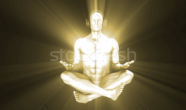 Adam meditasyon kulaklık 3D yüz Stok fotoğraf © kentoh
