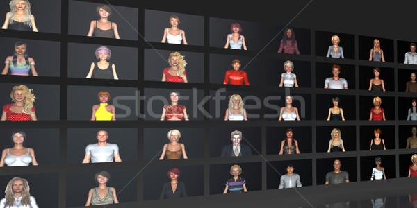 多樣 因特網 工作場所 不同 業務 女子 商業照片 © kentoh