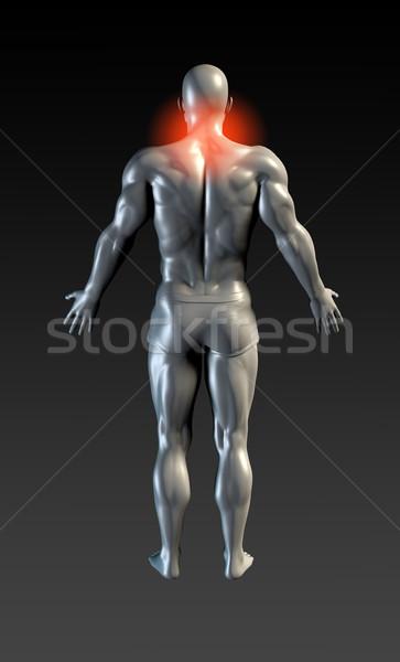 Nyak sérülés piros izzik egészség sportok Stock fotó © kentoh