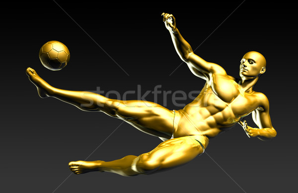 Football Player Scoring a Winning Goal Stock photo © kentoh