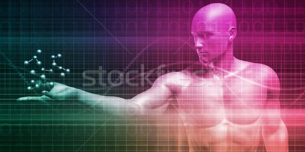 Atom DNA parçacık inşaat soyut tıbbi Stok fotoğraf © kentoh