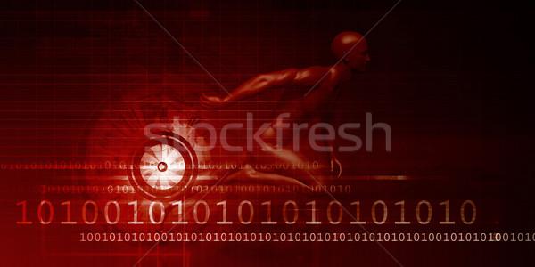 Férfi versenyzés technológia háttér vállalati képzés Stock fotó © kentoh