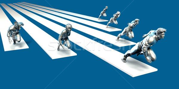 Businessmen Teamwork Running Together Stock photo © kentoh