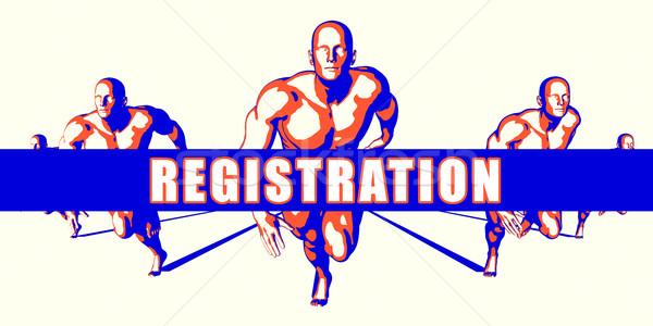 Registrazione concorrenza illustrazione arte sfondo arancione Foto d'archivio © kentoh