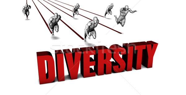 Jobb diverzitás üzleti csapat versenyzés üzletember fut Stock fotó © kentoh