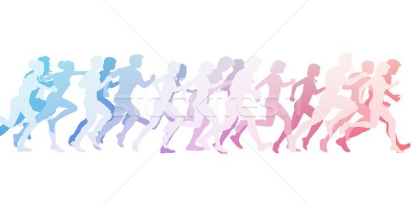 マラソン 実行 実例 白 女性 抽象的な ストックフォト © kentoh
