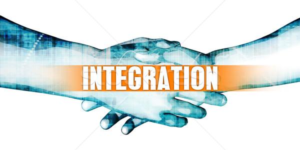 Integratie zakenlieden handdruk witte handen achtergrond Stockfoto © kentoh