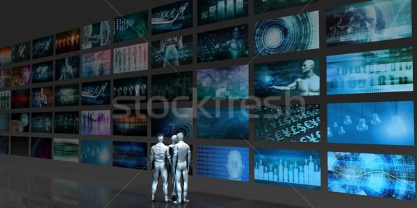Multimedia technologie mensen staren muziek internet Stockfoto © kentoh