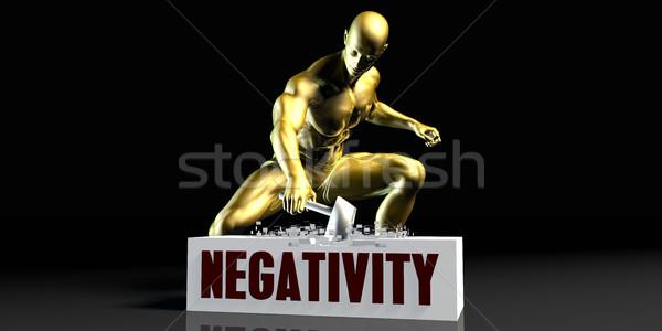 отрицательность черный золото молота человек Сток-фото © kentoh