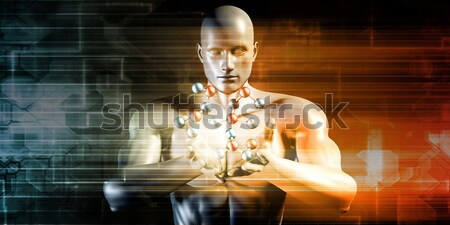 Man Holding Molecule Stock photo © kentoh