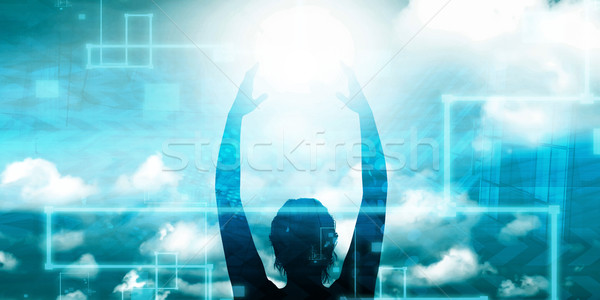 Woman Holding the Sun Stock photo © kentoh