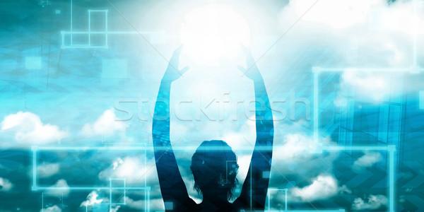 Woman Holding the Sun Stock photo © kentoh