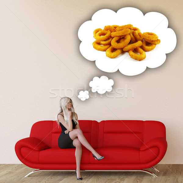 Vrouw hunkering ui ringen denken eten Stockfoto © kentoh