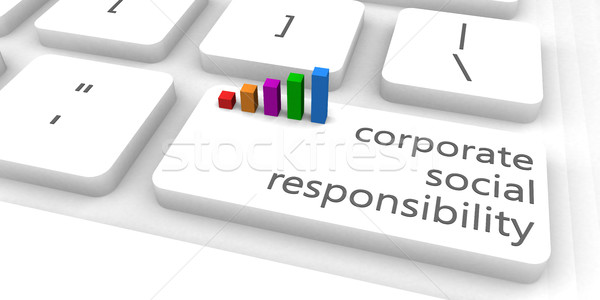 Corporate sozialen Verantwortung Ethik Tastatur bar Stock foto © kentoh