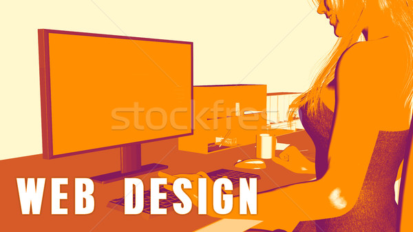 Сток-фото: веб-дизайна · женщину · глядя · компьютер · фон · классе