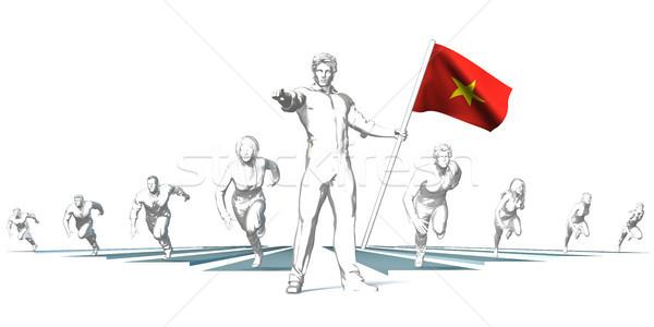 Racing будущем человека флаг работает Сток-фото © kentoh
