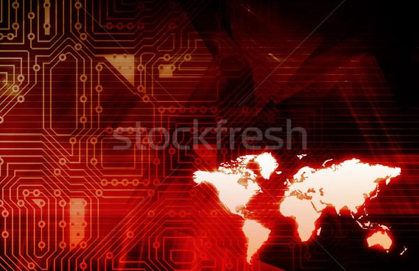 Intégré mondial niveau résumé réseau Photo stock © kentoh