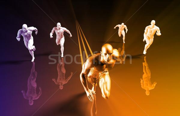 Winnend race business abstract achtergrond Stockfoto © kentoh