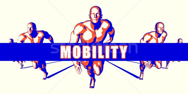 Mobilidade competição ilustração arte fundo laranja Foto stock © kentoh