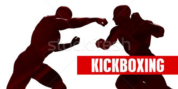 Kickboks sınıf siluet iki adam kavga spor Stok fotoğraf © kentoh