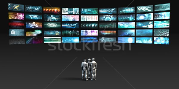 Mensen naar videowall internet muur technologie Stockfoto © kentoh