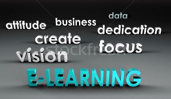 Online oktatás 3D bemutató üzlet háttér oktatás Stock fotó © kentoh
