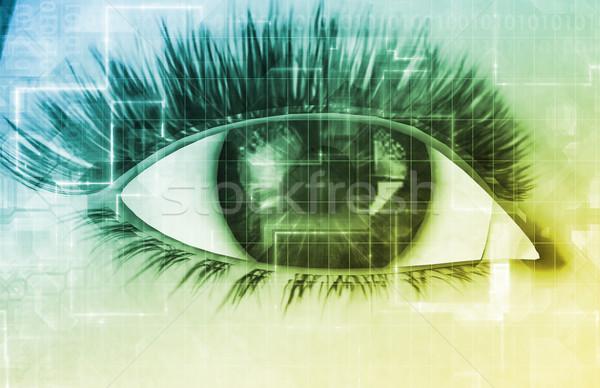 Esquadrinhar tecnologia proteger olho abstrato segurança Foto stock © kentoh