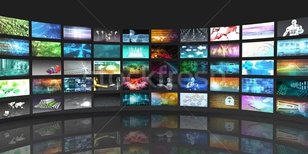 Televisie productie technologie videowall film achtergrond Stockfoto © kentoh