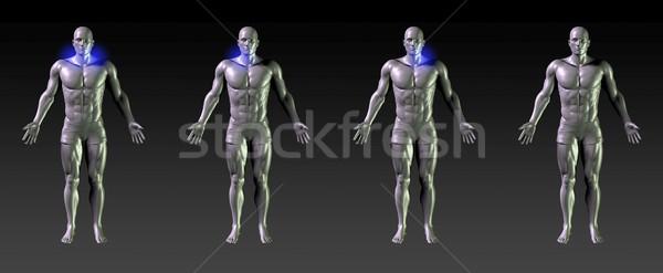 Nyak gyógyulás rehabilitáció kék izzik sportok Stock fotó © kentoh