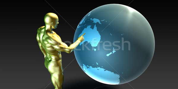Businessman Pointing at Australia Stock photo © kentoh