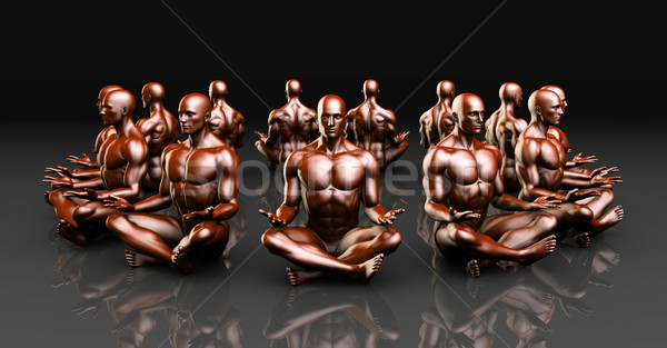 человека сидят Lotus положение йога спорт Сток-фото © kentoh