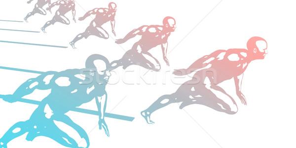 Cardio entraînement athlètes courir rapide résumé Photo stock © kentoh
