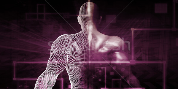 цифровая технология гуманоид интернет аннотация фон будущем Сток-фото © kentoh