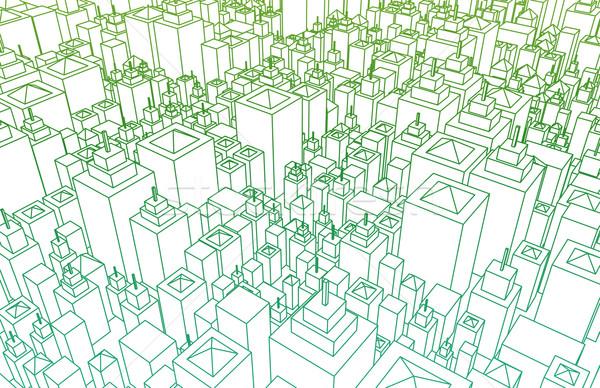 Черно-белые город зданий план дизайна искусства Сток-фото © kentoh