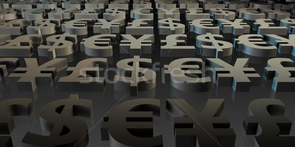 Foto stock: Global · moedas · dinheiro · símbolos · 3D · arte