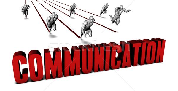 Jobb kommunikáció üzleti csapat versenyzés üzletember fut Stock fotó © kentoh