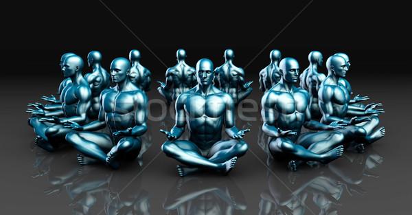 Man in Yoga Lotus Position Pose Stock photo © kentoh