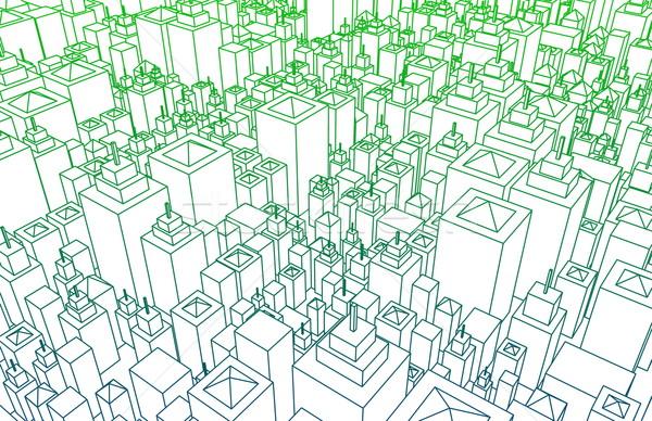 Modern építészet háló város drótváz vonalak alapvető Stock fotó © kentoh