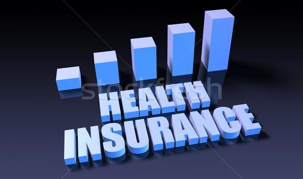 Медицинское страхование графа диаграммы 3D синий черный Сток-фото © kentoh
