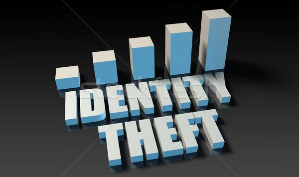 Személyazonosság-lopás grafikon diagram 3D kék fekete Stock fotó © kentoh