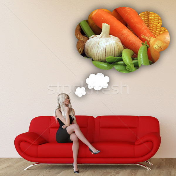 Woman Craving Organic Vegetables Stock photo © kentoh
