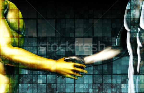 бизнеса интеграция сеть рук компьютер интернет Сток-фото © kentoh