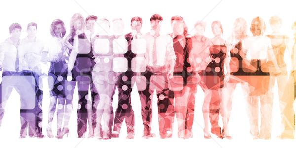 Professionals werken menigte groep team werknemer Stockfoto © kentoh