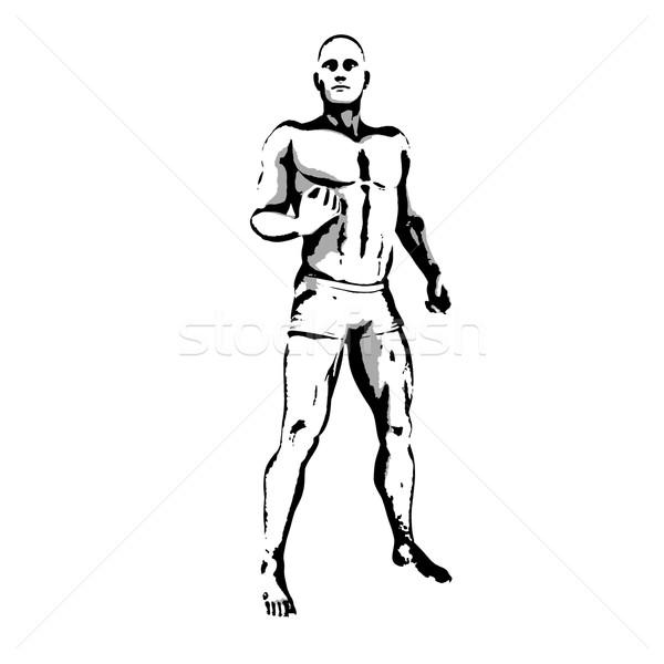 Comic Held darstellen Skizze Tinte Illustration Stock foto © kentoh
