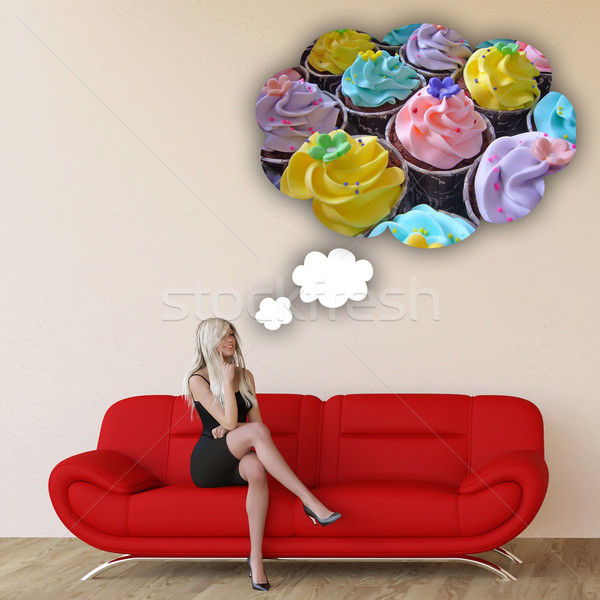 Woman Craving Cupcakes Stock photo © kentoh