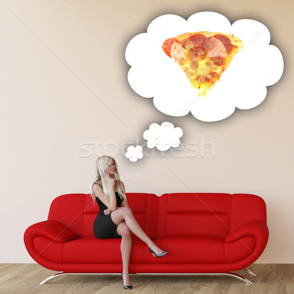 Woman Craving Pizza Stock photo © kentoh