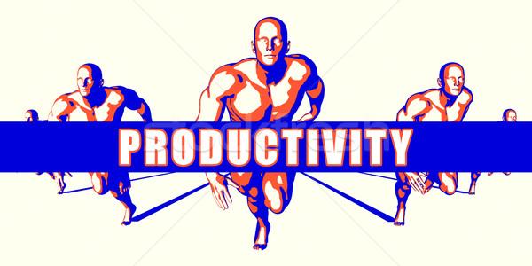 производительность конкуренция иллюстрация искусства фон оранжевый Сток-фото © kentoh